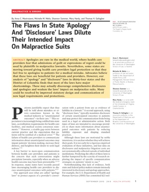 The Flaws In State 'Apology' And 'Disclosure' Laws Dilute Their Intended Impact On Malpractice Suits.jpg