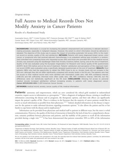 Full access to medical records does not modify anxiety in cancer patients