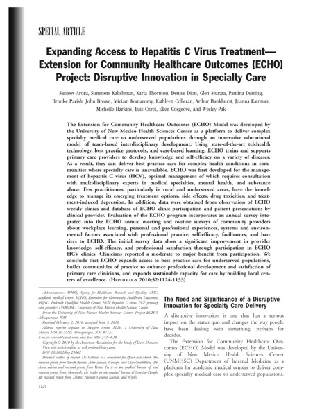 Expanding access to hepatitis C virus treatment Extension for Community Healthcare Outcomes  ECHO project disruptive innovation in specialty care