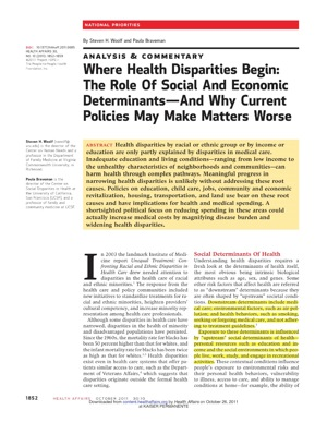 "Now Reading: ""Behavior is not the whole story"" - Social and Economic Determinants are where Health Disparity Begins"