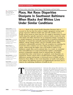 Now Reading: Place, not race: disparities dissipate when blacks and whites live under similar conditions