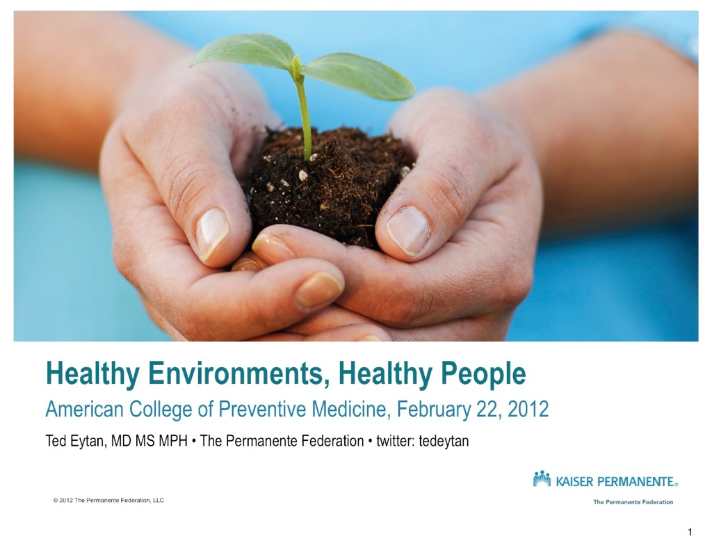 My slides from presentation : #GreenHC - Healthy Environments, Healthy People