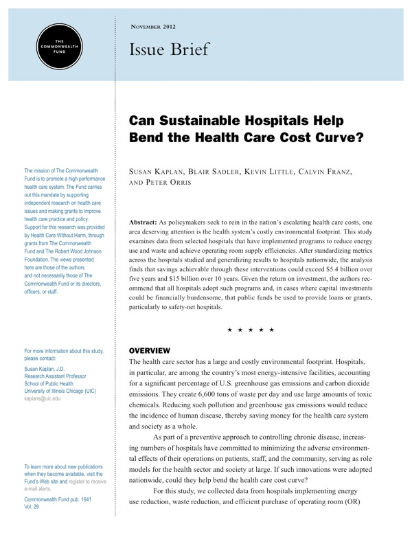 Can Sustainable Hospitals Help Bend the Health Care Cost Curve