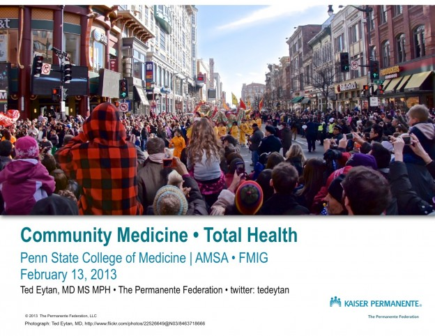 Community Medicine - Total Health - Dialogue with and from the future at Penn State Hershey