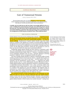 Now Reading: Care of Transsexual Persons — NEJM, in the era of inclusion