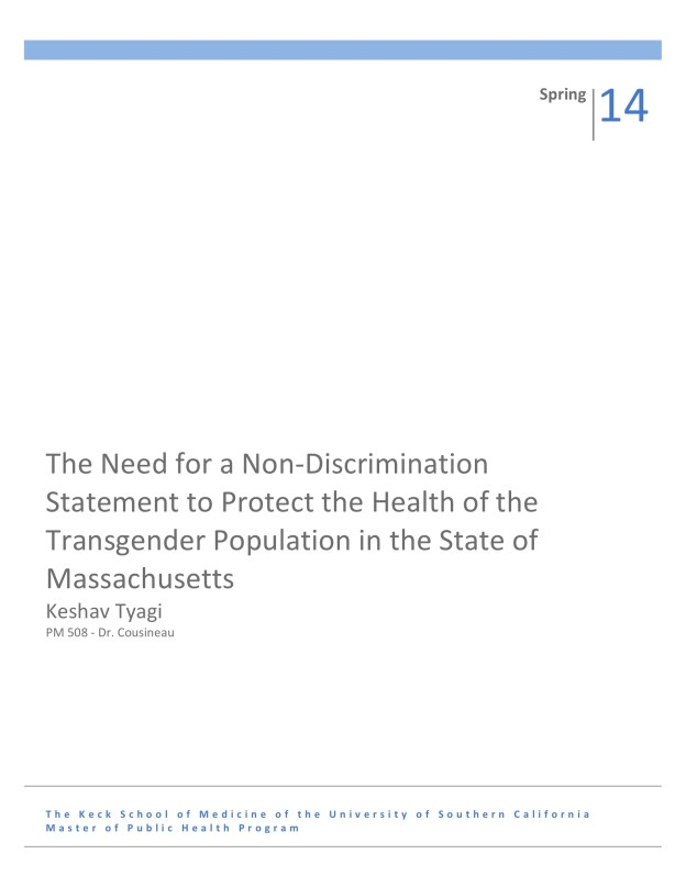 Just Read: Need for a Non-Discrimination Statement to Protect the Health of the Transgender Population