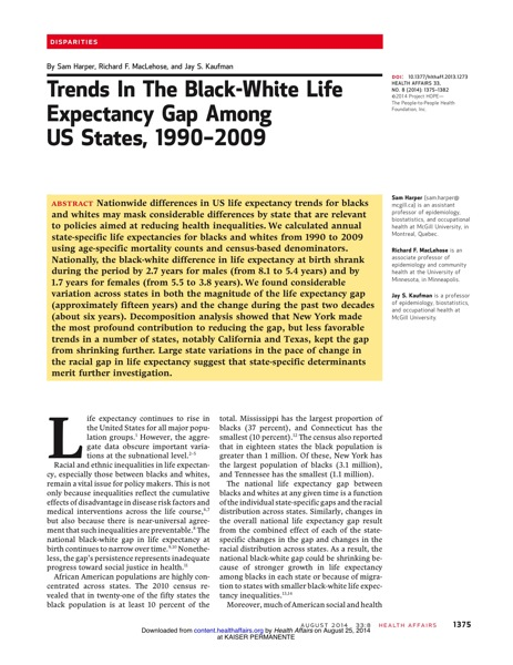 Trends In The Black White Life Expectancy Gap Among US States 46342