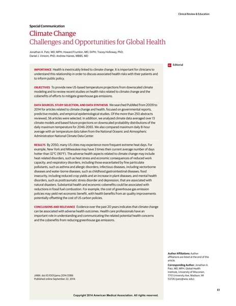 Just Read: What physicians (and patients) need to know about Climate Change - JAMA