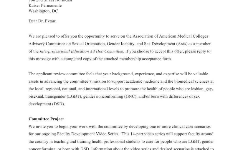 I said yes: AAMC Advisory Committee on Sexual Orientation, Gender Identity and Sex Development
