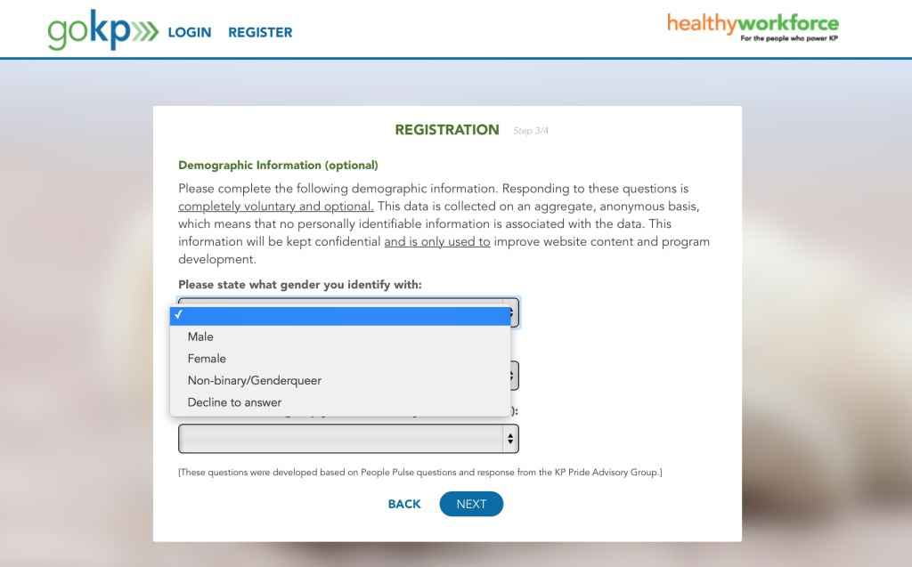 GoKP HealthyWorkforce Demographics Screen shot