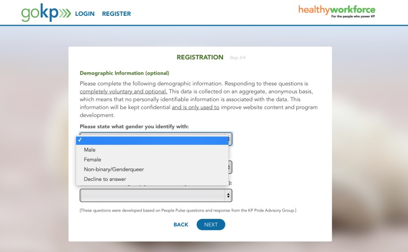 Respecting  and Representing All Genders in a Healthy Workforce Program: Example from Kaiser Permanente