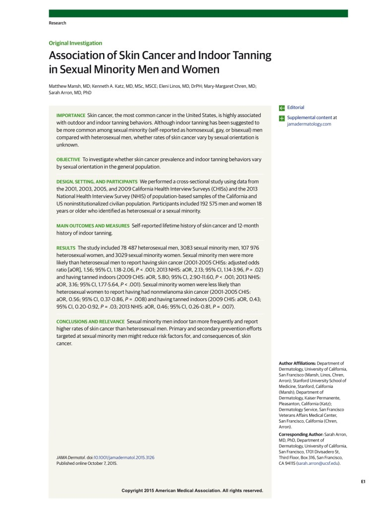 Association of Skin Cancer and Indoor Tanning in Sexual Minority Men and Women 2015