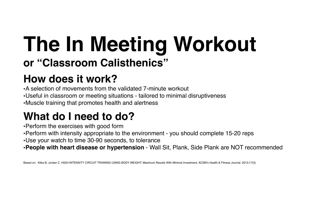 In Class Calisthenics - Based on the 7 minute workout 3