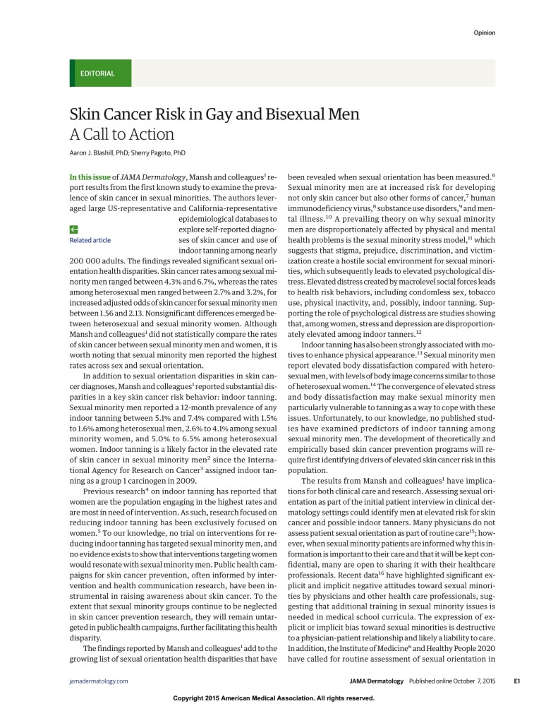 Skin Cancer Risk in Gay and Bisexual Men- A Call to Action 2