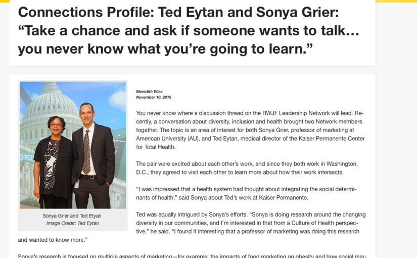 Just Read: My Connection Profile with Professor Sonya Grier, RWJF Leadership Network