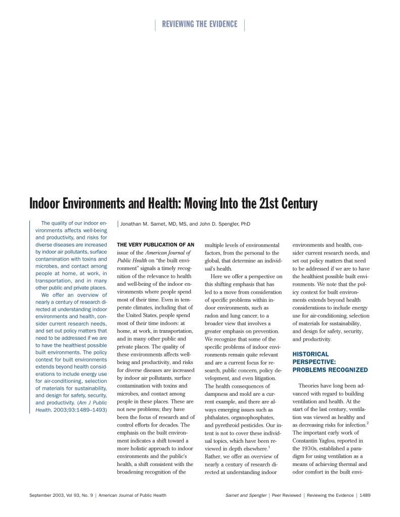 Indoor environments and health: moving into the 21st century.  2015-3