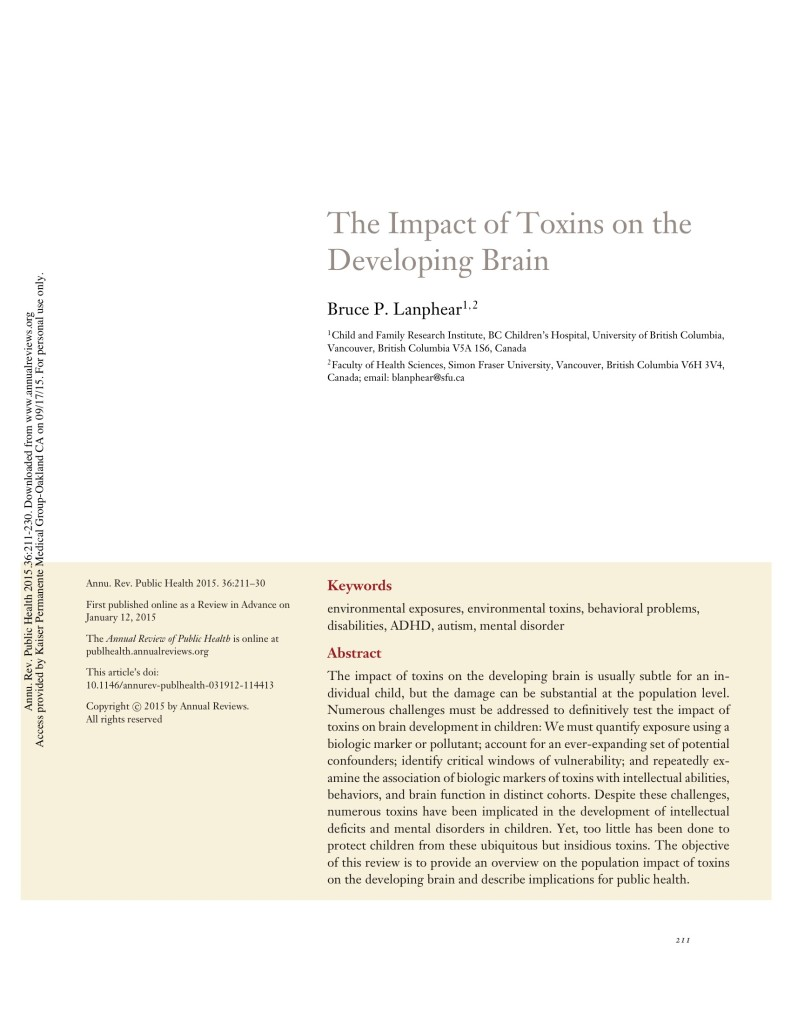 The impact of toxins on the developing brain