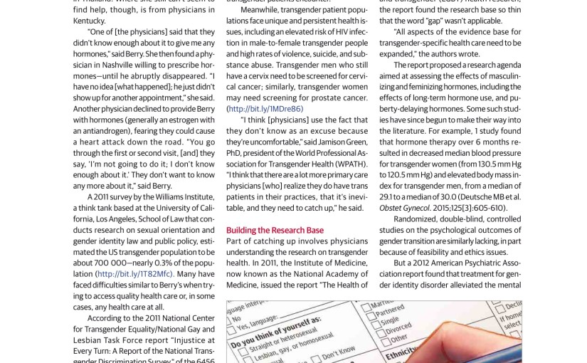 Just Read: Transgender Person Care Moves into the Mainstream   JAMA