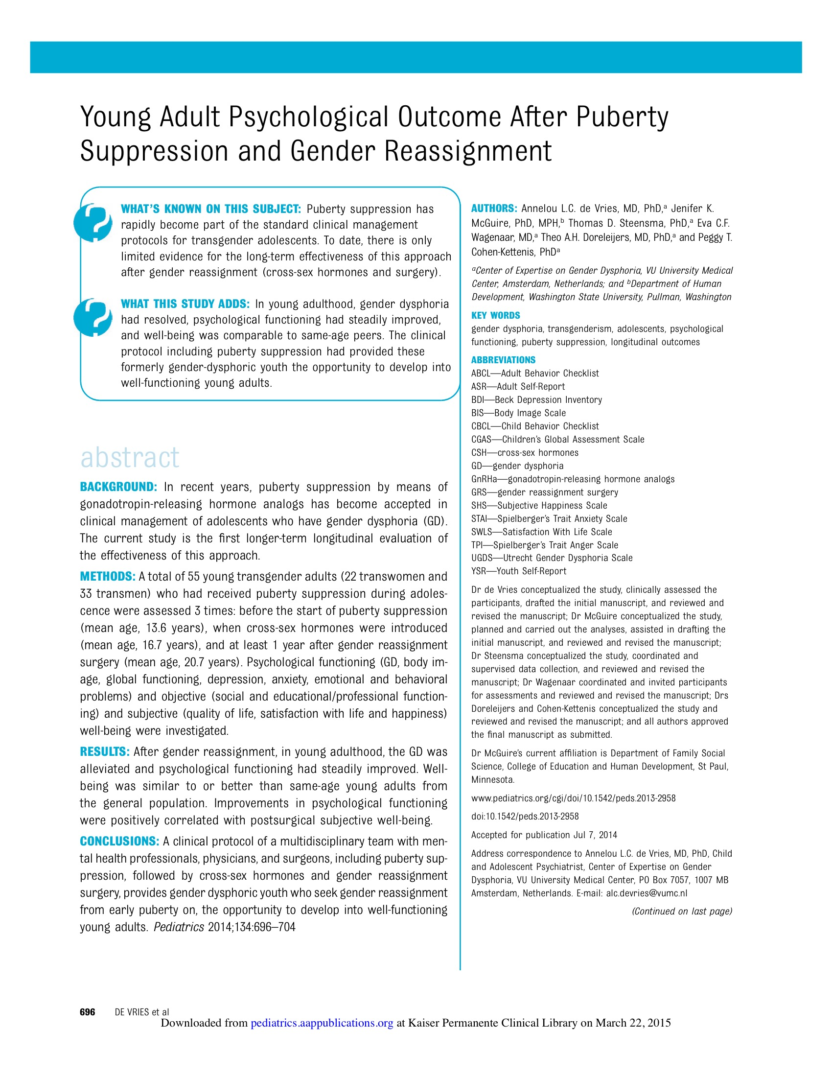 Just Read: Transgender Adolescents develop into well adults with