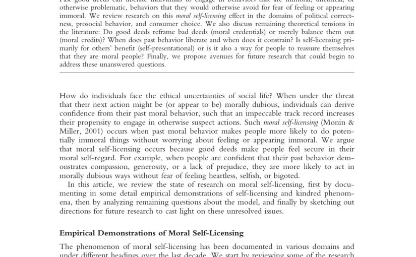 Just Read: Moral Self-Licensing - a continual challenge to eliminating bias in health care
