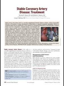 Just Read: Stable Coronary Artery Disease: Treatment (American Family Physician) - Role of diet?